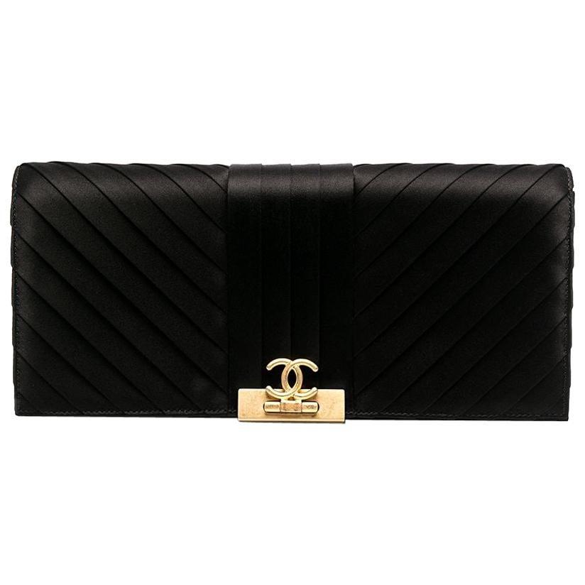 2019s Chanel Black Satin Silk Clutch