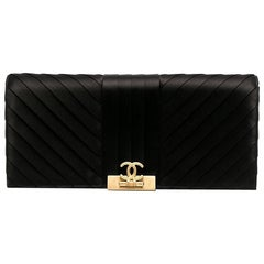 2019s Chanel Black Satin Silk Clutch