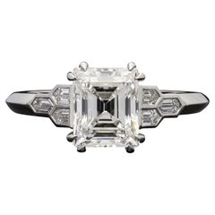 Hancocks 2.01carat Rare Vintage Carre Cut Diamond Platinum Solitaire Ring