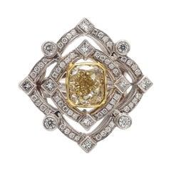 2.01ct Cushion Cut, Fancy Yellow Diamond Ring