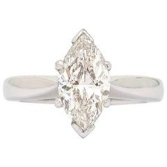 2.01ct Marquise Diamond 18 Karat White Gold Platinum Engagement Ring, I Color