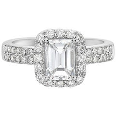 2.02 Carat 18 Karat White Gold Emerald Cut Halo Set Engagement Ring
