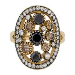2.02 Carat Black and White Diamond Bubble Ring
