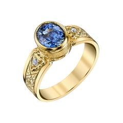 2.02 Carat Blue Sapphire, Diamond Yellow Gold Engraved Bezel Signet Band Ring