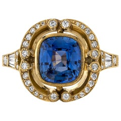 2.02 Carat Blue Sapphire Set in a Handcrafted 18 Karat Yellow Gold Ring