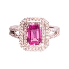 2.02 Carat Bright Pink Emerald Cut Sapphire and Round Diamond 18 Carat Gold Ring