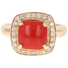 2.02 Carat Coral Diamond 14 Karat Yellow Gold Halo Ring