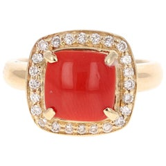 2.02 Carat Coral Diamond 14K Yellow Gold Halo Ring
