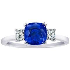 2.02 Carat Cushion Blue Sapphire and Diamond Ring