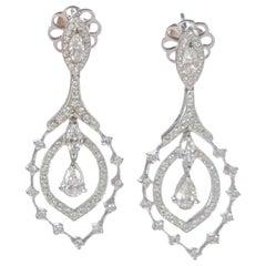 2.02 Carat Diamond  Brilliant 18 Karat White Gold Victorian Bridal Drop Earrings