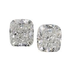 2.02 Carat Diamond Cushion Cut Earrings F Color and VS1 Clarity