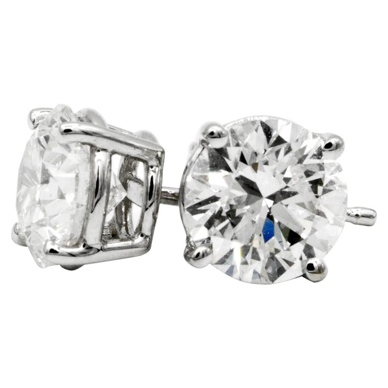 2.02 Carat Diamond Stud Earrings in 14 Karat White Gold For Sale