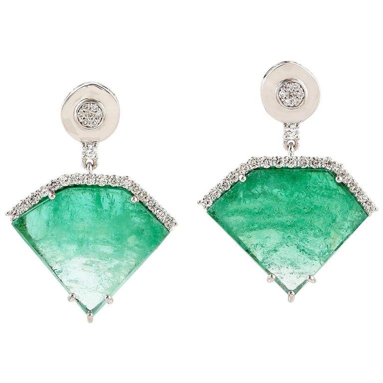 20.2 Carat Emerald Diamond 18 Karat White Gold Earrings For Sale