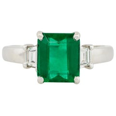2.02 Carat Emerald Three-Stone Ring with Diamonds 18 Karat in Stock
