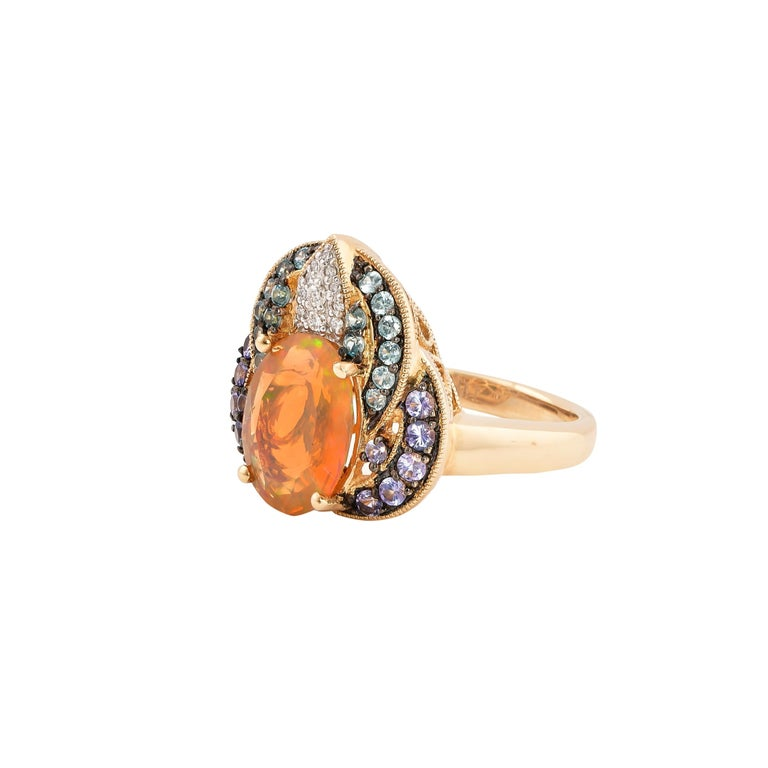 Contemporary 2.02 Carat Ethiopian Opal Ring in 14 Karat Yellow Gold with Diamonds For Sale