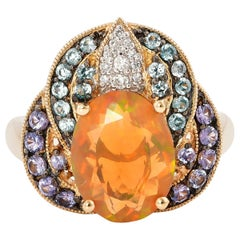 2.02 Carat Ethiopian Opal Ring in 14 Karat Yellow Gold with Diamonds