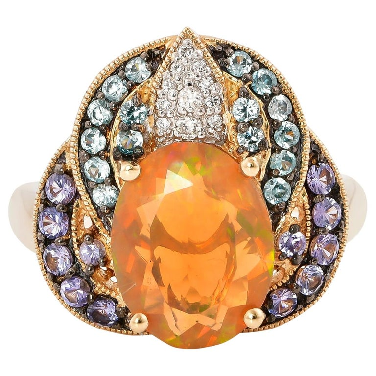2.02 Carat Ethiopian Opal Ring in 14 Karat Yellow Gold with Diamonds For Sale