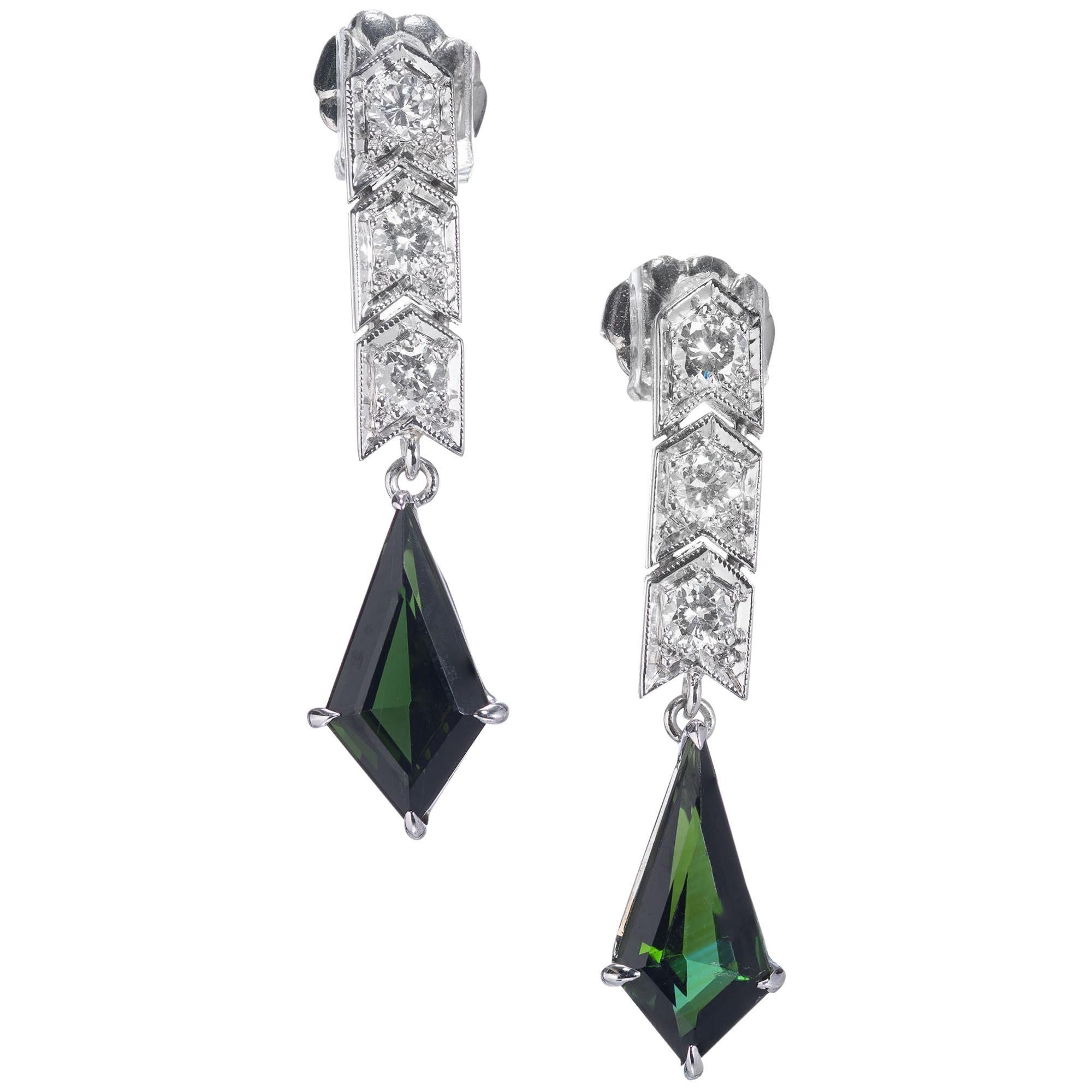 2.02 Carat Green Tourmaline Diamond Platinum Dangle Earrings