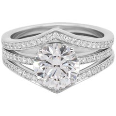 2.02 Carat H VVS2 GIA Solitaire and Paved Diamond Jacket Ring in 18K White Gold