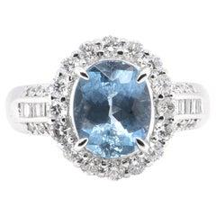 2.02 Carat, Natural, Aquamarine and Diamond Ring Set in Platinum