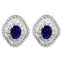 2.02 Carat Natural Ceylon Blue Sapphire and Diamond Cluster Earrings