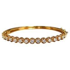 2.02 Carat Natural Diamonds Bangle Bracelet 14 Karat