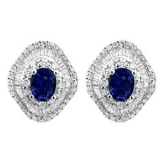 2.02 Carat Natural Royal Blue Sapphire and Diamond Stud Earrings, 18K White Gold