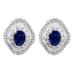 2.02 Carat Natural Royal Blue Sapphire and Diamond Stud Earrings