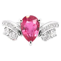 2.02 Carat, Natural, Untreated, Unheated Ruby and Diamond Ring Set in Platinum