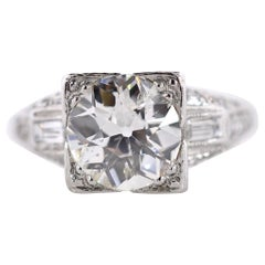2.02 Carat Old European Cut Diamond Antique Platinum Ring