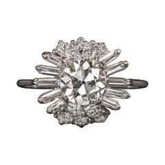 2.02 Carat Old European Cut Diamond Ring