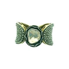 2.02 Carat Old Mine Cut 'Polki Diamond' Ring Oxidized Sterling Silver, 14K Gold