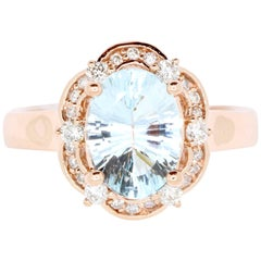 2.02 Carat Oval Aquamarine Engagement Ring