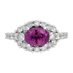 2.02 Carat Oval Bubble Gum Pink Sapphire 14k White Gold Diamond Cocktail Ring