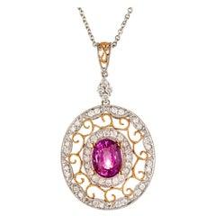 2.02 Carat Pink Sapphire Diamond Gold Pendant Necklace
