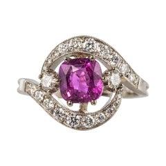 2.02 Carat Pink Sapphire Diamonds 18 Karat White Gold Platinum Swirl Ring