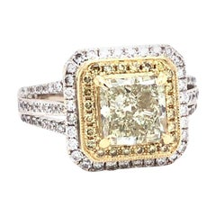 2.02 Carat Radian Cut Fancy Yellow Diamond Ring with White Diamond Side Stones