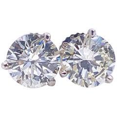 2.02 Carat Round Brilliant Diamond Martini Stud Earrings 14 Karat