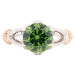 2.02 Carat Russian Demantoid 14 Karat White Gold Engagement Wedding Ring