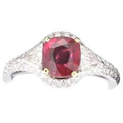 2.02 Carat Three-Stone Ruby Rings 18K White Gold Ring 0.42 Carat Diamond Rings
