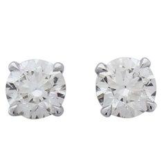 2.02 Carat Total Diamond Stud Earrings in 14 Karat White Gold