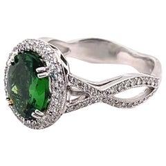 2.02 Carat Tsavorite and Diamond Gold Ring