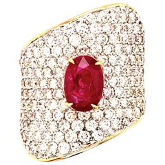 2.02 Carat Unheated Ruby Diamond Cocktail Ring