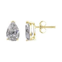 2.02 Ct Pear Cut Diamonds Studs D Color, VS2 Clarity