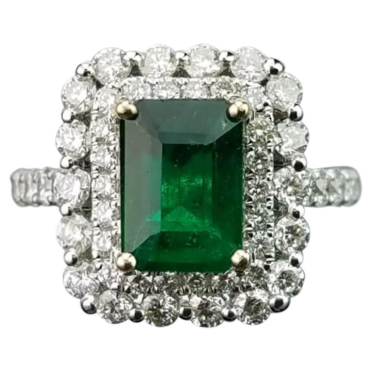 2 02 Emerald And Diamond Cocktail Ring For Sale At 1stdibs
