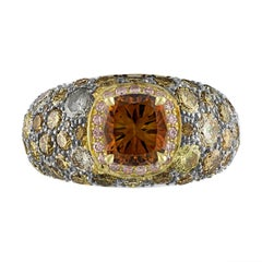 2.02 GIA Certified Cushion Cut Diamond Ring in 18 Karat Yellow Gold