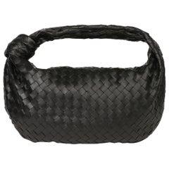 2020 Bottega Veneta Black Intrecciato Woven Calfskin Leather The Small Jodie