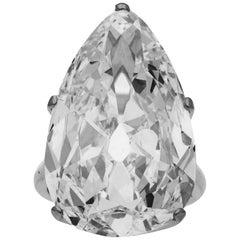 Hancocks 20.20 Carat H VVS2 Old Mine Pear Shape Diamond Solitaire Ring