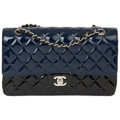 2020 Chanel Black & Navy Quilted Patent Leather Medium Classic Double Flap Bag