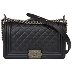 2020 Chanel Black Quilted Caviar Leather Medium Le Boy